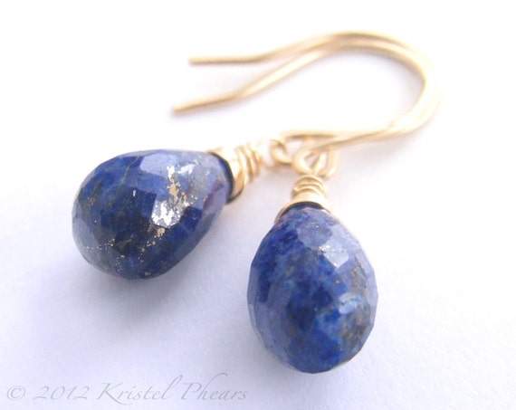 Lapis Earrings - Dangle earrings genuine lapis lazuli drop cobalt blue 14k gold-filled or sterling September Birthstone Gift