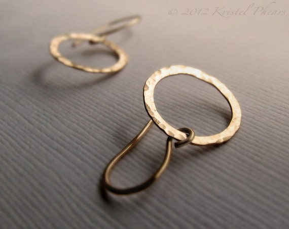 Hammered Circle Earrings - small dangle drop circle in Gold or Silver, hoop earrings, bridesmaid, bridal Gift, 14kgf or sterling