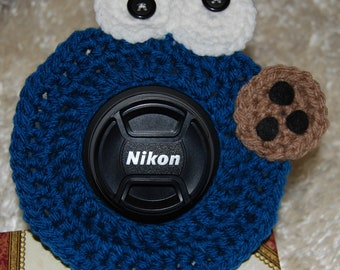 Crocheted Cookie Monster Camera Buddy (FREE SHIPPING)