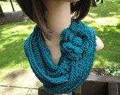 Teal Crochet Scarf with Flower Brooch Pin