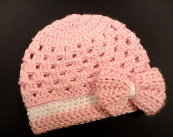 Crochet Baby Hat Pattern Newborn to 3 Years,  Baby Girl Hat, Sassy Bow, Permission to Sell, #69