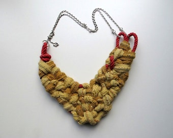 """Beautiful handmade """"Shades of Yellow"""" necklace with red details. Featured in Belle Armoire Magazine!"""