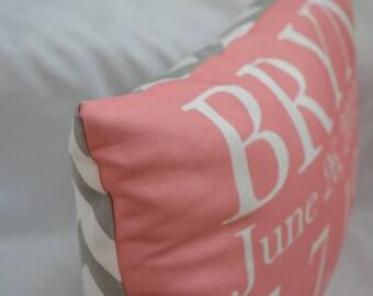 Birth Announcement Pillow baby gift birthday baby shower new baby baby girl baby boy baby chevron pillow custom pillow