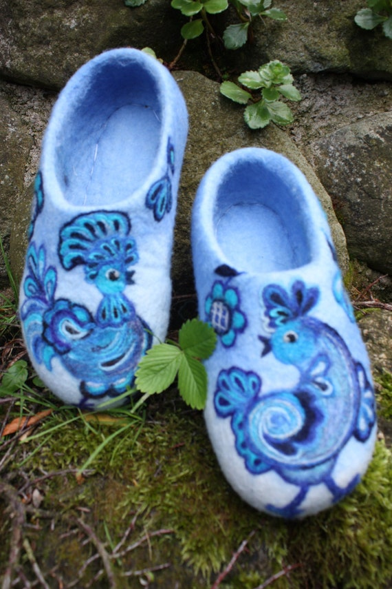 Felted Slippers- Blue Birds