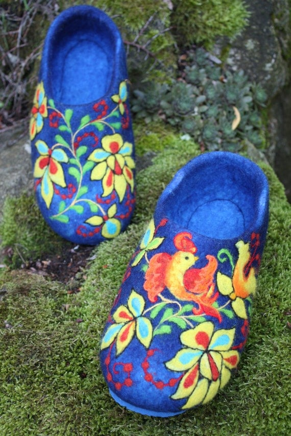 Felted Slippers- Blue Garden MADE TO ORDER