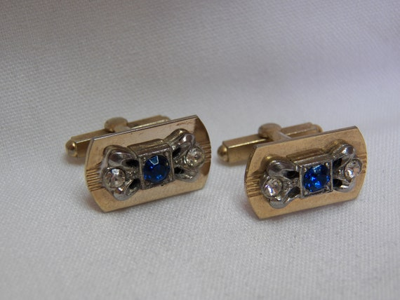 Vintage Mens Cufflinks- Blue and Clear Diamond Like Stones- Gold and Silver- Classic Mens Jewelry- Gifts for Him
