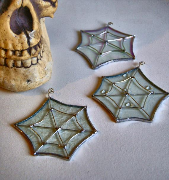 Spider Webs Suncatcher - Set of Three - Stained Glass Halloween Decoration Christmas Ornaments