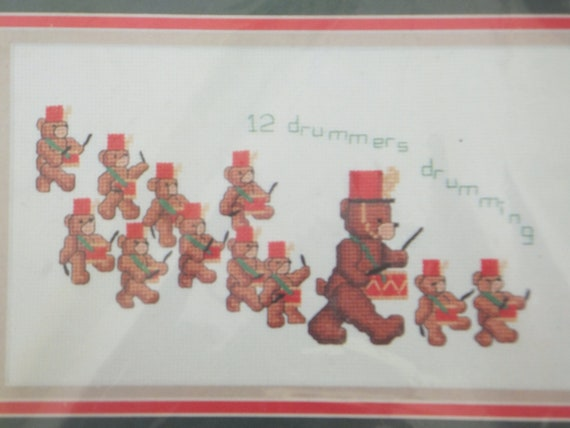 Christmas Counted Cross Stitch Kit: 12 Bear Drummers Drumming