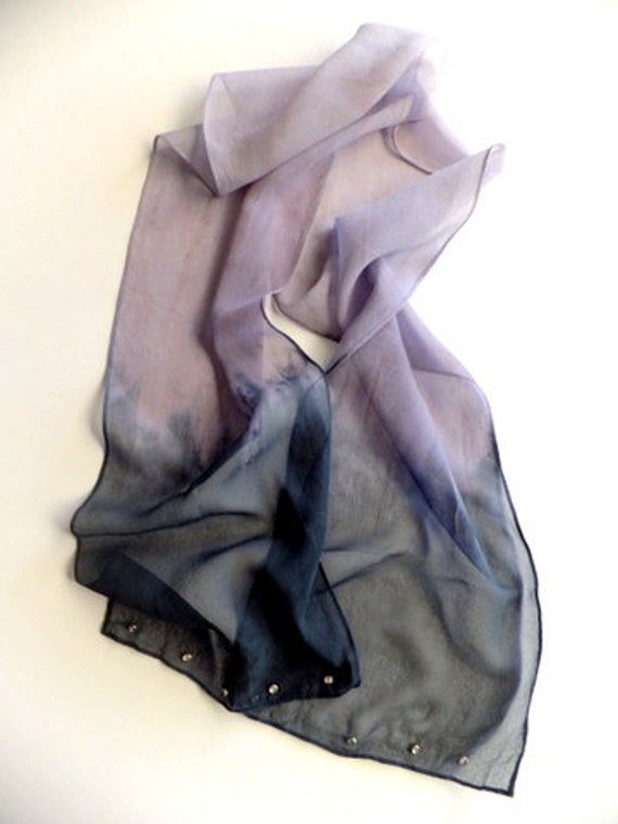 Ombre scarf in black and plum
