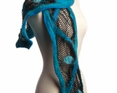 SALE Wool Scarf Nuno Felted with Fishnet in Teals and Black