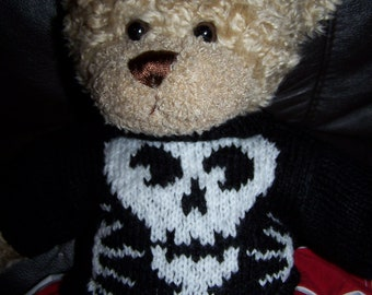 Hand Knitted Sweater fits Build a Bear with Skull for Halloween