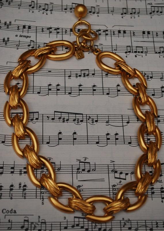 vintage chunky goldtone Anne Klein goldlink necklace