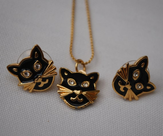 Vintage Black cat Earrings and Necklace
