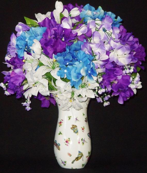 Silk Flower Arrangement Blue \u0026 Lavender Hydrangea White