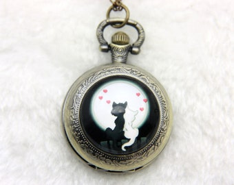 Necklace FOB two love cats