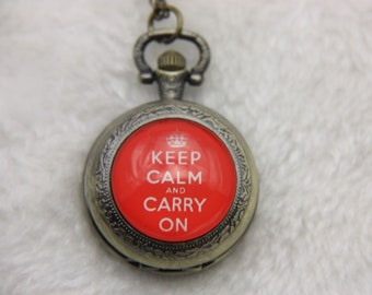 "Necklace Pocket watch ""keep calm and carry on"""