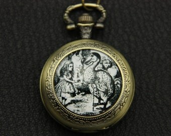 Necklace Pocket watch alice in wonderland white and black