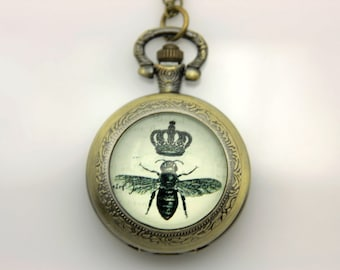 Necklace Pocket watch bee crown