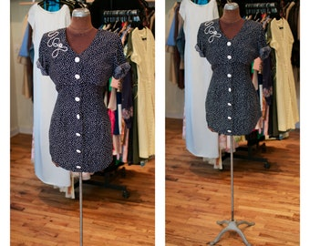 1980s Polka Dot High Low Asymmetrical Blue and White Fitted Mini Button Down Vest Dress with Embroidered Detail