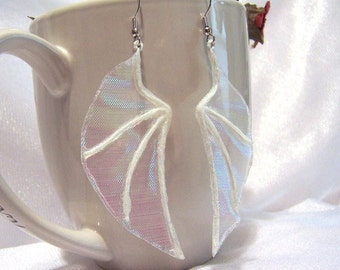 Fairy Wing Earrings: White Iridescent Earrings - U1005