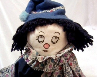 Handmade Sweet Blue Clown - Vintage Clown Doll: S1004
