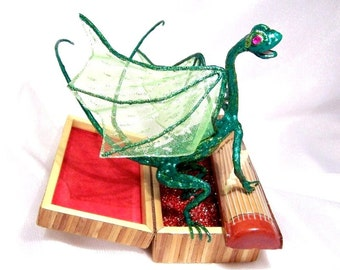 Green Dragon Playing a Chinese Zither: Dragon Musician Art Doll