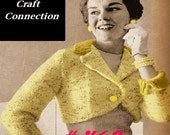 A BEST Vintage 1950s Easy Elegant Bolero Sweater Jacket with Contrast Collar & Cuffs 468 PDF Digital Knit Pattern