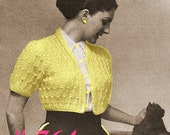 Almost FREE Vintage 1950s Pearl Studded Bolero Jacket 764 PDF Digital Knit Pattern
