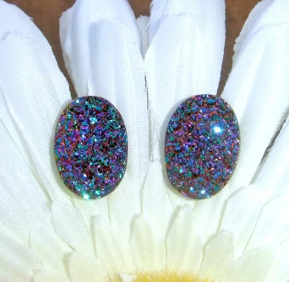Druzy Earrings, Drusy Earrings, Rainbow Druzy Earrings, Sparkly Titanium Druzy Quartz Earrings, Rainbow Drusy Jewelry
