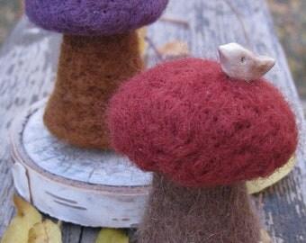 2 needle felted mushrooms, deep fall colors, autumn, clay birds