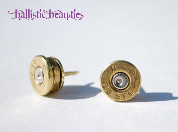 "Bullet Shell Casing .38 Special ""Stunning Studs"" Earrings"