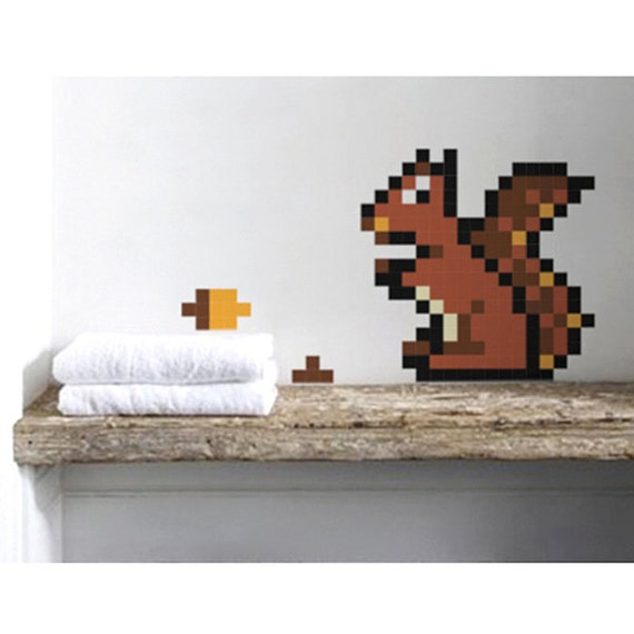 Squirrel  Wall Decal 8bits Puxxle - The Pixel Puzzle