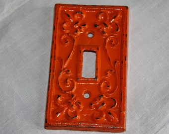BRIGHT ORANGE Cast Iron Ornate Single Switch Plate / Fleur de lis / Light Switch Plate