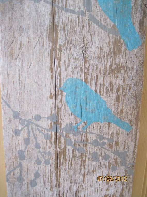 White Board with Branches and Aqua Birds Wall Decor Sign on Old Barn Wood