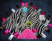 Gorgeous Zebra Print Taggie Blanket with Pacifier Holder