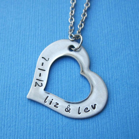 Personalized Heart Washer Necklace with Lobster Clasp Couple Names and Date - Custom Wedding Anniversary Gift