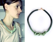 RESERVED for hawilli - UNIQUE Dip Dye- Knotted Cotton Necklace in olive
