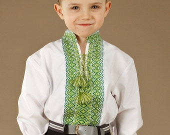 Ukrainian embroidered shirt for boys. Children vyshyvanka. Cotton. Color of embroidery red, brown, black, blue, green