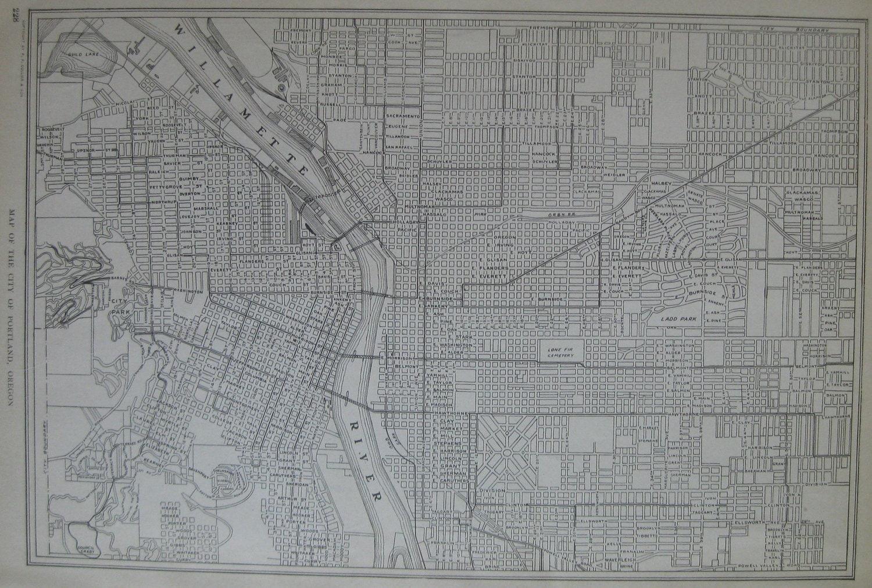 1920 antique portland oregon map vintage 1900s city map w for Atlas motors portland oregon