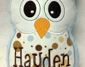 Personalized Boy Baby Shower Plush Owl Pillow Soft Toy