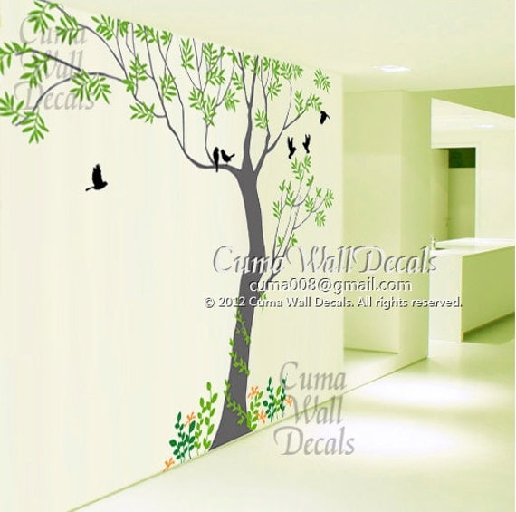 Tree wall decals Bird wall art Home decors flower Murals