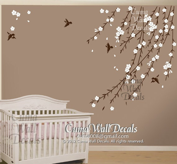 Cherry blossom birds nursery wall decals tree vinyl wall for Cherry blossom tree wall mural