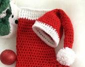 Christmas Santa Hat, Newborn,  Child, Toddler, Photo Prop, HAT ONLY .