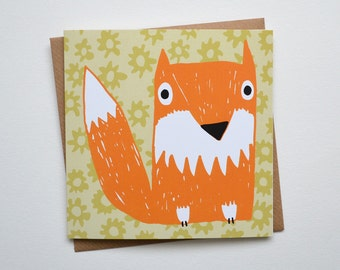 Fox Card - Blank Greetings Card from Screen Print Design