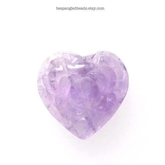 Small Carved Purple Amethyst Heart Shaped Gemstone Flat Back