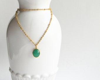 Gold Necklace - Stone Necklace - Long Necklace - Matte Gold Chain with Green Jade Glass Stone Pendant