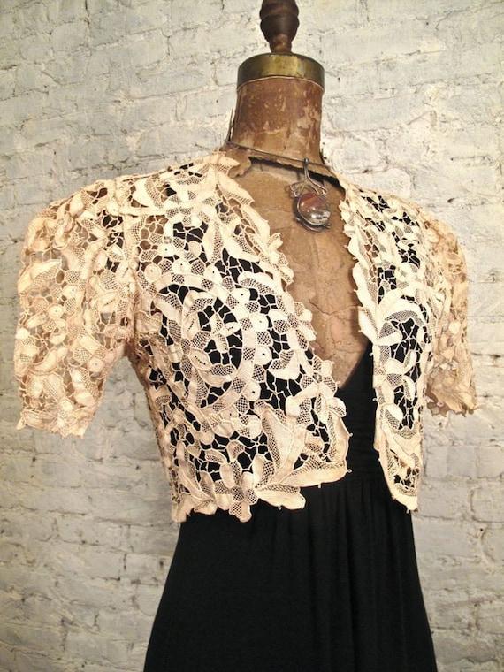30s Lace Bolero Jacket - All Handmade - Ecru