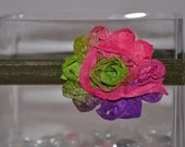 The TAMMY-Tie Dye and Glitter Shabby Flower Adjustable Headband in Hot Pink, Lime Green and Grape
