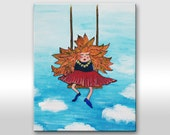 "ORIGINAL PAINTING on canvas. Small artwork with orange hair girl on swings ""In the clouds"". Girl illustration - Nursery decor-Kid-Child"