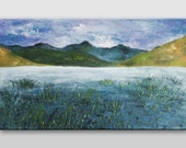 Original mountains and lake landscape painting on canvas Gray Green Blue mist water nature art home decor acrylic painting 12x20 artbyasta - AstaArtwork
